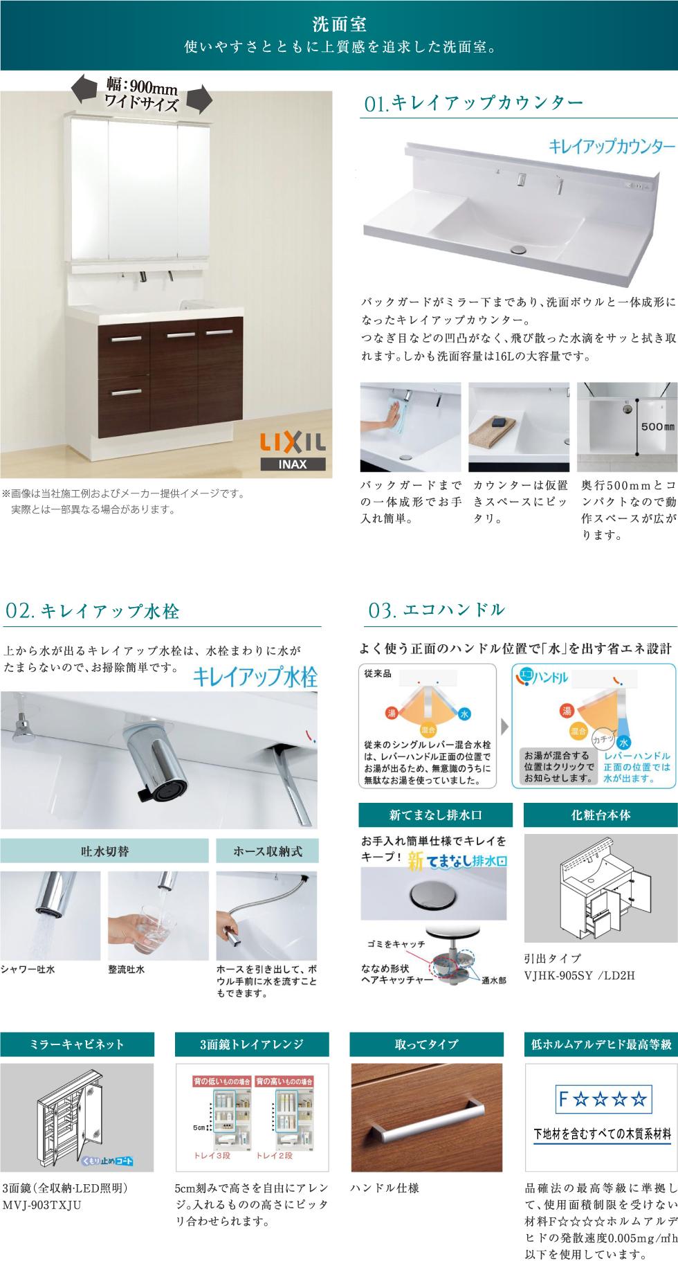 オール電化   LIXILの洗面室